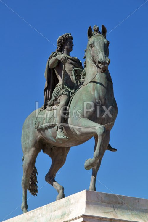 Statue of Louis XIV in Lyon city – France - Royalty free stock photos, illustrations and 3d letters fonts
