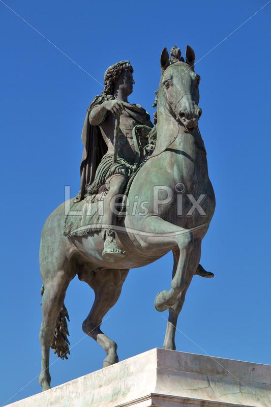 statue of louis xiv in lyon city - france