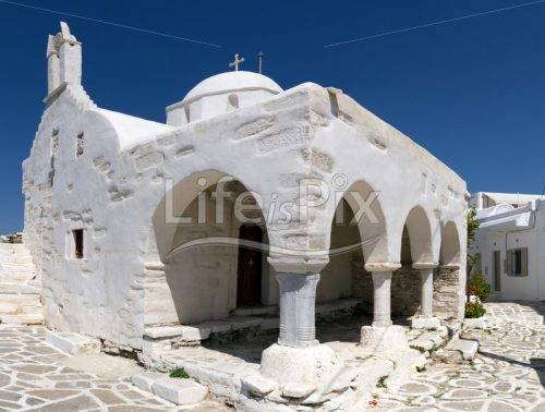Typical greek white church - Royalty free stock photos, illustrations and 3d letters fonts