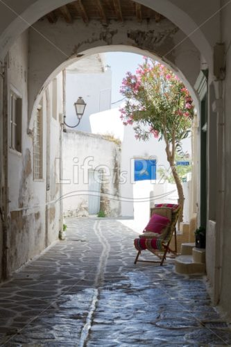 Typical small greek street - Royalty free stock photos, illustrations and 3d letters fonts
