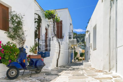 Typical small street – Paros island – Greece - Royalty free stock photos, illustrations and 3d letters fonts