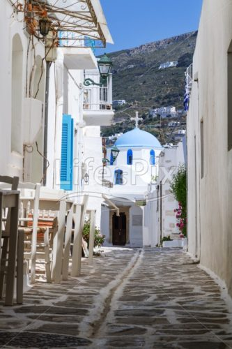 Typical small street in Greece - Royalty free stock photos, illustrations and 3d letters fonts