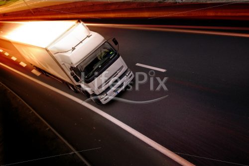 White truck on highway - Royalty free stock photos, illustrations and 3d letters fonts