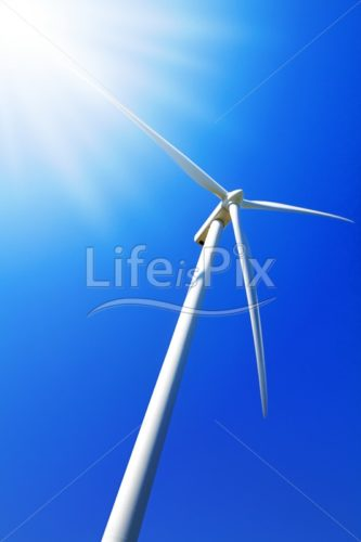 Wind turbine under clear blue sky – Royalty free stock photos, illustrations and 3d letters fonts