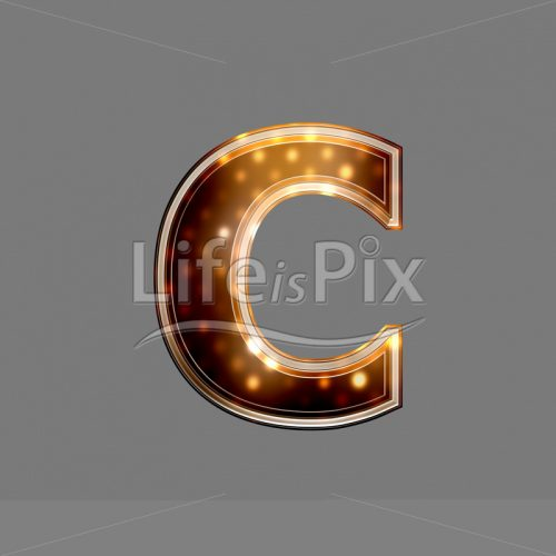 Xmas Font with glowing light texture – c – Royalty free stock photos, illustrations and 3d letters fonts