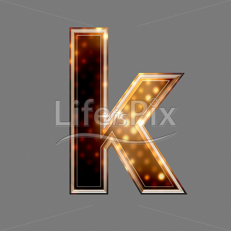 Xmas letter with glowing light texture – k – Royalty free stock photos, illustrations and 3d letters fonts