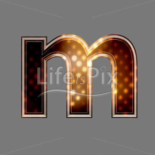 Xmas letter with glowing light texture – m – Royalty free stock photos, illustrations and 3d letters fonts