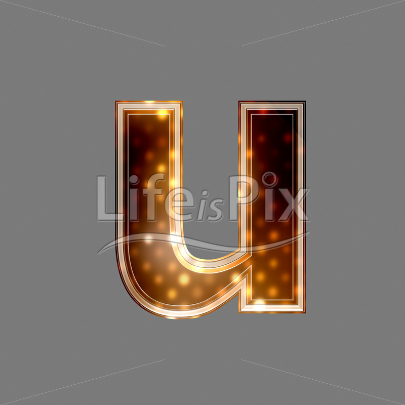 Xmas letter with glowing light texture – u – Royalty free stock photos, illustrations and 3d letters fonts