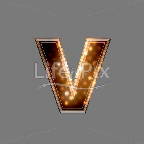 Xmas letter with glowing light texture – v – Royalty free stock photos, illustrations and 3d letters fonts