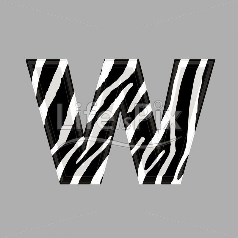 Zebra font – lower case w – 3d illustration