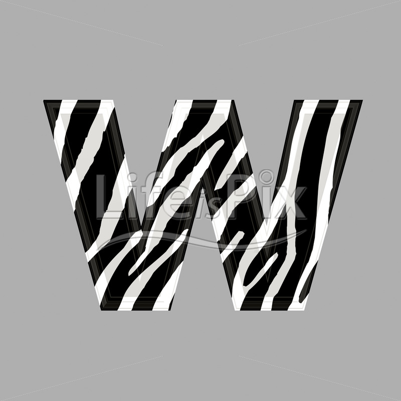 Zebra Font Lower Case W 3d Illustration