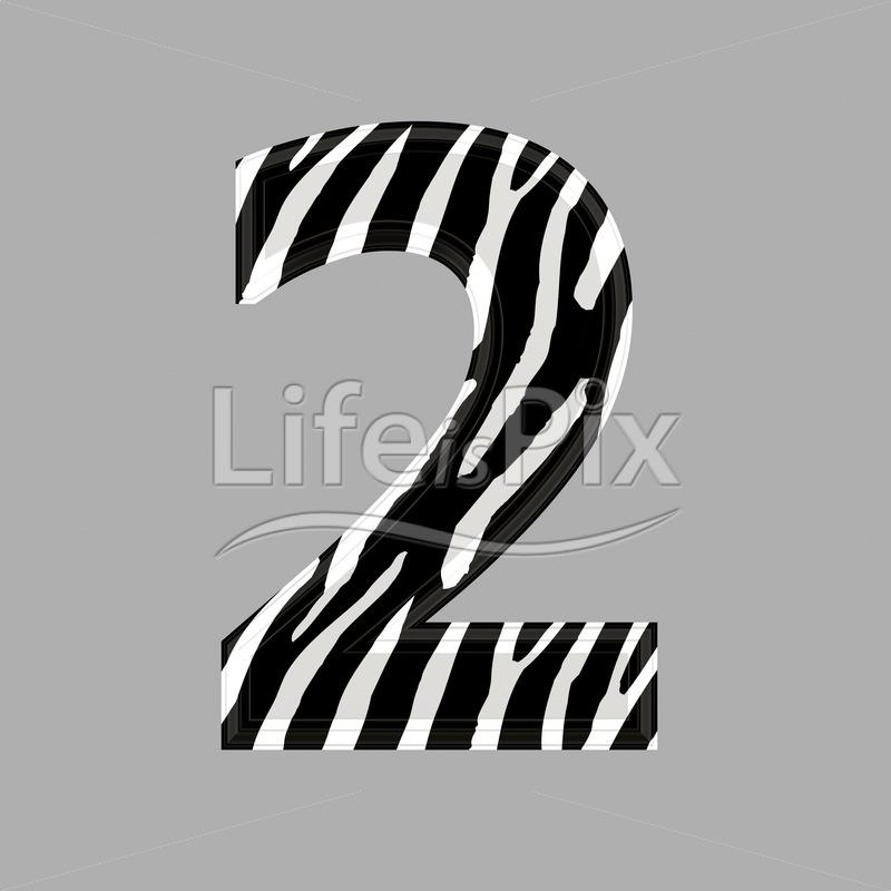 Zebra font – digit 2 – 3d illustration – Royalty free stock photos, illustrations and 3d letters fonts