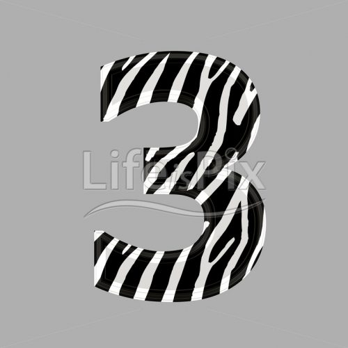 Zebra font – digit 3 – 3d illustration – Royalty free stock photos, illustrations and 3d letters fonts