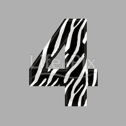 Zebra font – digit 4 – 3d illustration – Royalty free stock photos, illustrations and 3d letters fonts