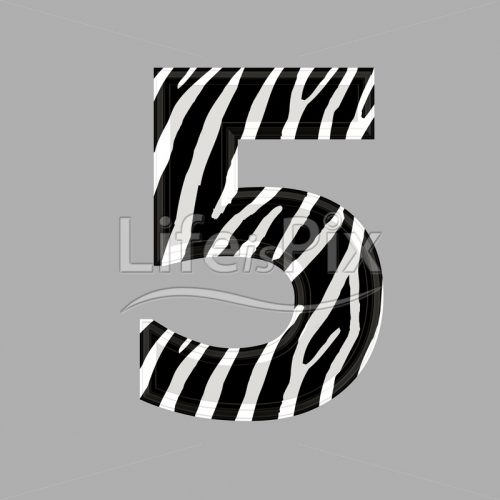 Zebra font – digit 5 – 3d illustration – Royalty free stock photos, illustrations and 3d letters fonts