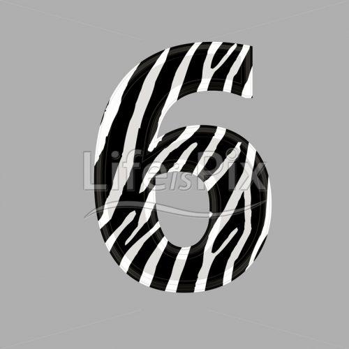 Zebra font – digit 6 – 3d illustration – Royalty free stock photos, illustrations and 3d letters fonts