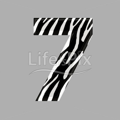 Zebra font – digit 7 – 3d illustration – Royalty free stock photos, illustrations and 3d letters fonts