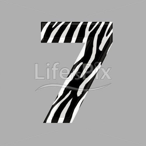 Zebra font – digit 7 – 3d illustration – Royalty free stock photos, illustrations and 3d letters fonts