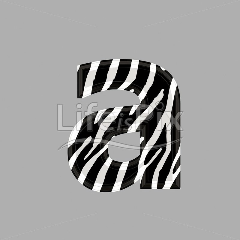 Zebra font - lower case a - 3d illustration - Royalty free stock photos, illustrations and 3d letters fonts