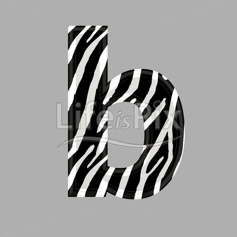 Zebra font – lower case b – 3d illustration – Royalty free stock photos, illustrations and 3d letters fonts