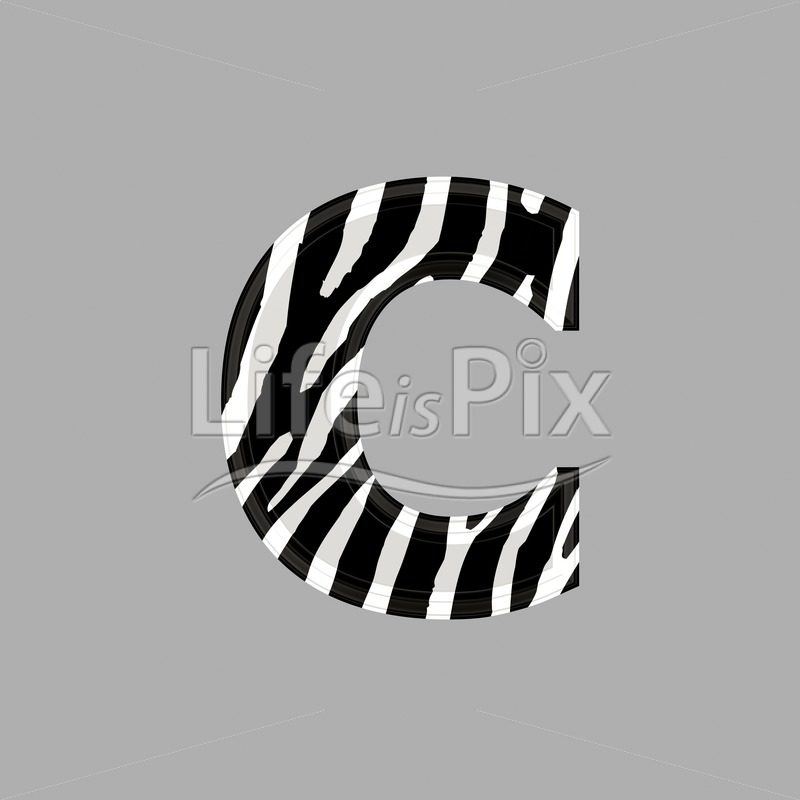 Zebra font – lower case c – 3d illustration – Royalty free stock photos, illustrations and 3d letters fonts