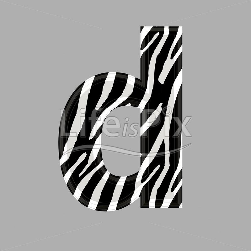 Zebra font - lower case d - 3d illustration - Royalty free stock photos, illustrations and 3d letters fonts