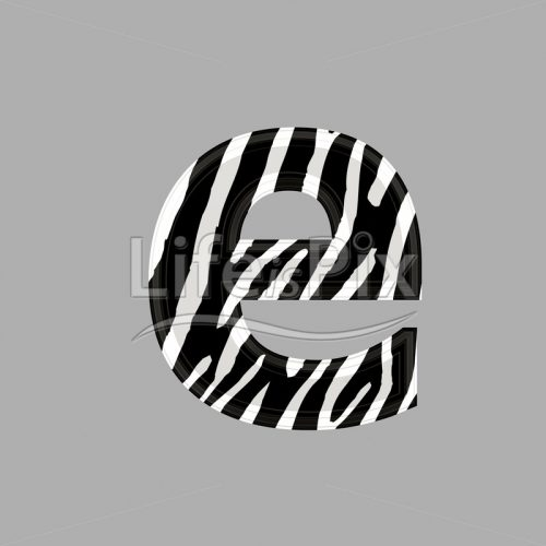 Zebra font – lower case e – 3d illustration – Royalty free stock photos, illustrations and 3d letters fonts