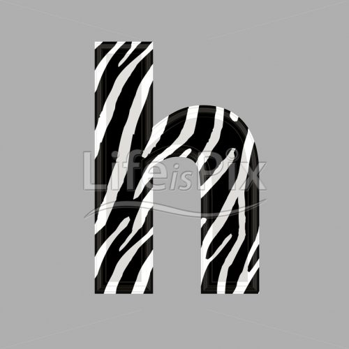 Zebra font – lower case h – 3d illustration – Royalty free stock photos, illustrations and 3d letters fonts