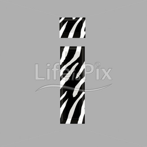Zebra font – lower case i – 3d illustration – Royalty free stock photos, illustrations and 3d letters fonts