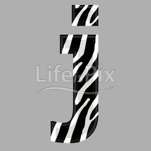 Zebra font – lower case j – 3d illustration – Royalty free stock photos, illustrations and 3d letters fonts