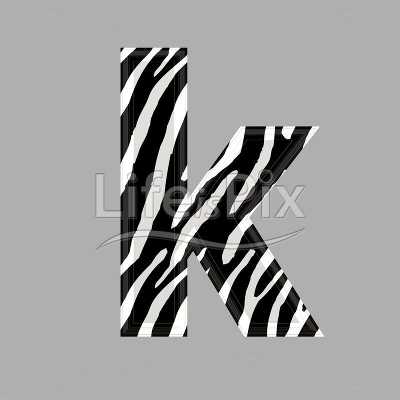 Zebra font - lower case k - 3d illustration - Royalty free stock photos, illustrations and 3d letters fonts