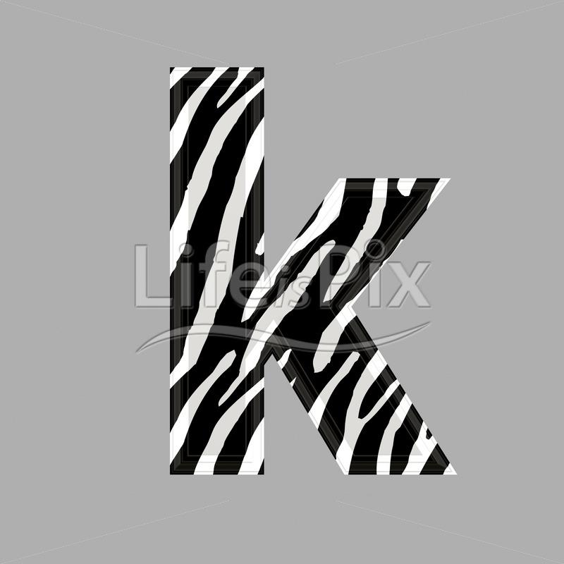 Zebra font – lower case k – 3d illustration – Royalty free stock photos, illustrations and 3d letters fonts
