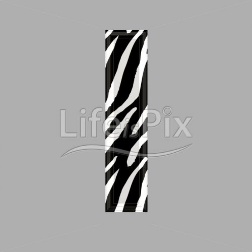 Zebra font – lower case l – 3d illustration – Royalty free stock photos, illustrations and 3d letters fonts