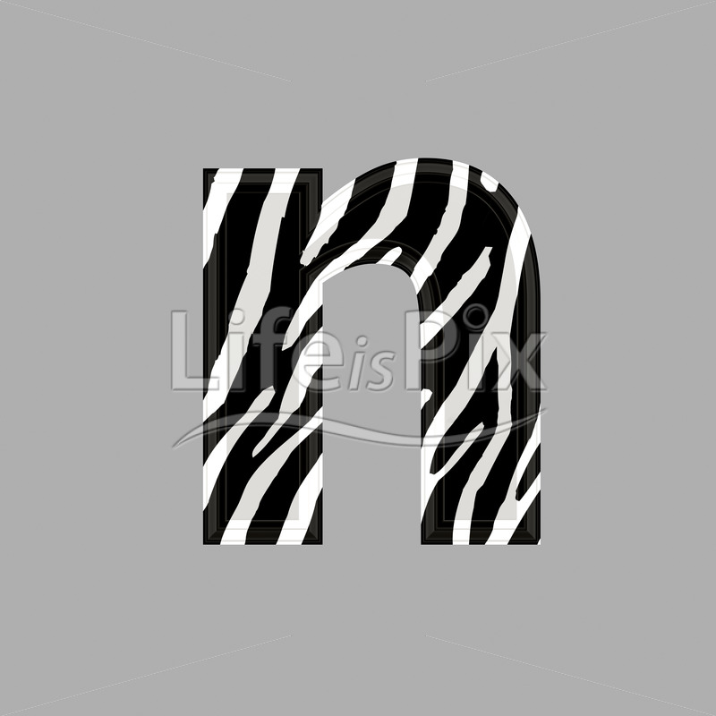 Zebra font – lower case n – 3d illustration – Royalty free stock photos, illustrations and 3d letters fonts