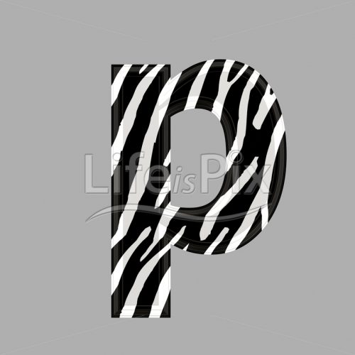 Zebra font – lower case p – 3d illustration – Royalty free stock photos, illustrations and 3d letters fonts