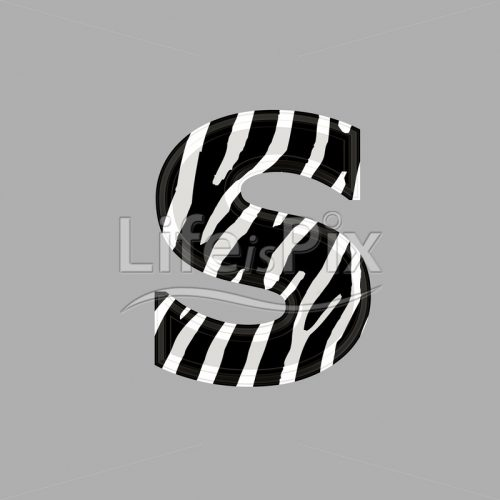 Zebra font – lower case s – 3d illustration – Royalty free stock photos, illustrations and 3d letters fonts