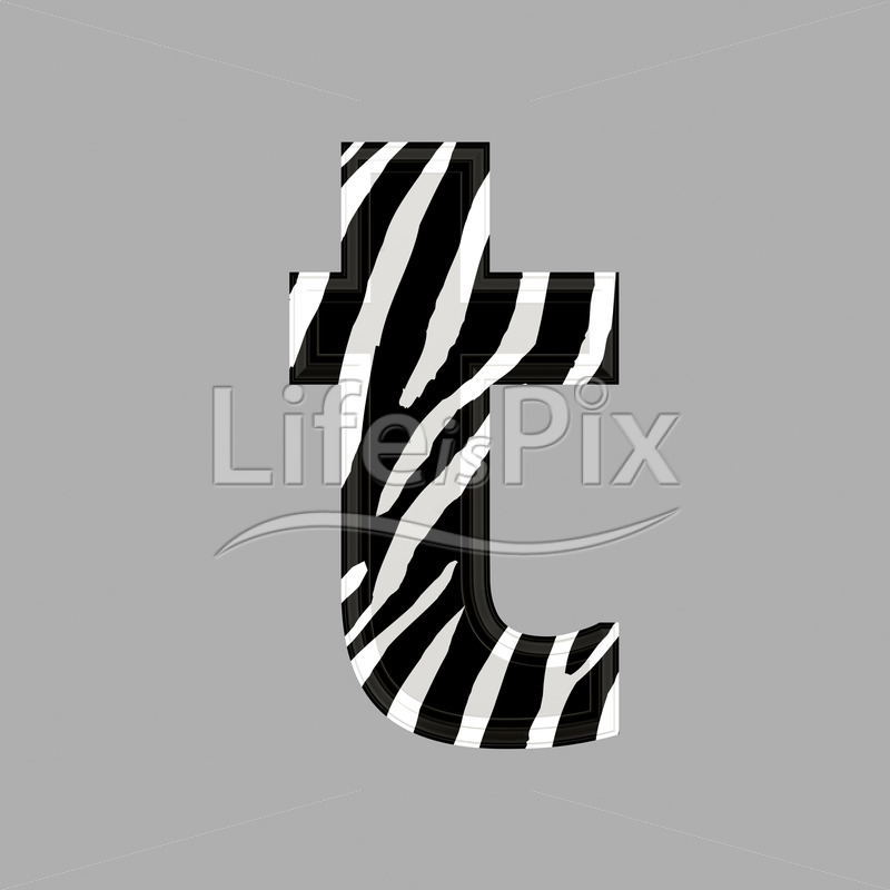zebra font lower case t 3d illustration royalty free stock