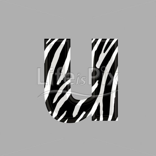 Zebra font – lower case u – 3d illustration – Royalty free stock photos, illustrations and 3d letters fonts