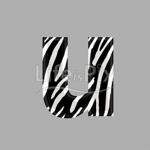 Zebra font – lower case u – 3d illustration – Royalty free stock photos, illustrations and 3d letters fonts
