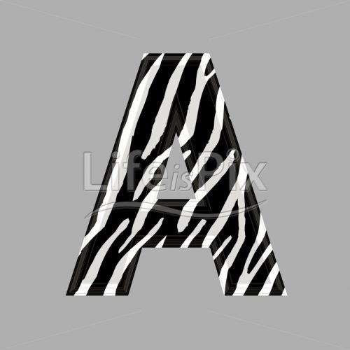 Zebra letter – capital A – 3d illustration – Royalty free stock photos, illustrations and 3d letters fonts