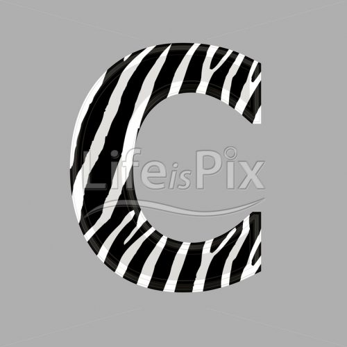 Zebra letter – capital C – 3d illustration – Royalty free stock photos, illustrations and 3d letters fonts