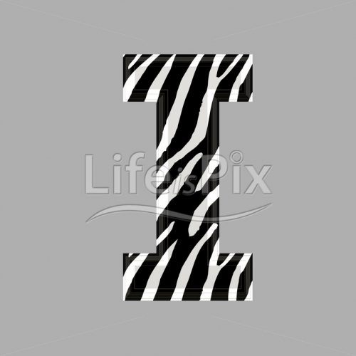 Zebra letter – capital I – 3d illustration – Royalty free stock photos, illustrations and 3d letters fonts