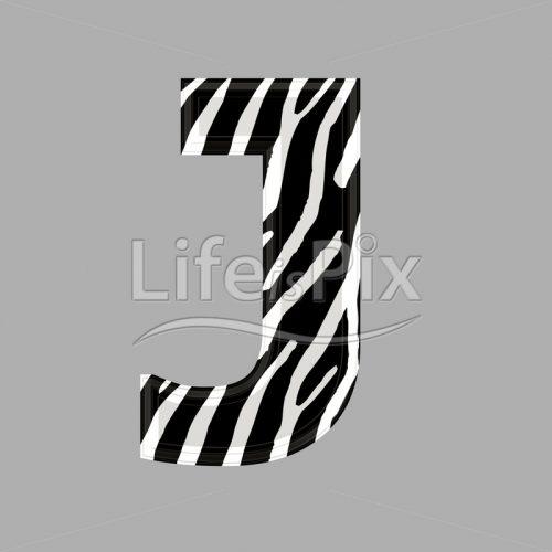 Zebra letter – capital J – 3d illustration – Royalty free stock photos, illustrations and 3d letters fonts