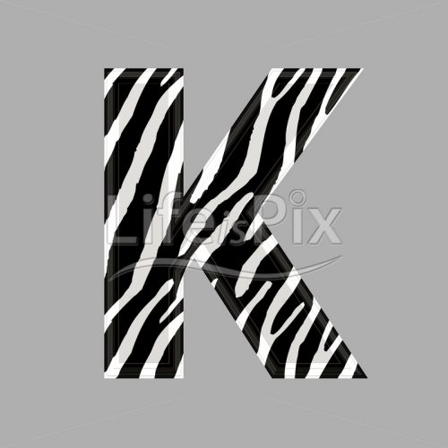 Zebra letter – capital K – 3d illustration – Royalty free stock photos, illustrations and 3d letters fonts