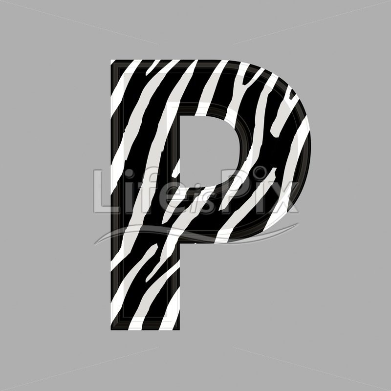 Zebra letter – capital P – 3d illustration – Royalty free stock photos, illustrations and 3d letters fonts