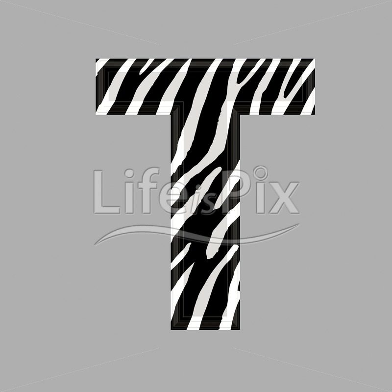 Zebra letter – capital T – 3d illustration – Royalty free stock photos, illustrations and 3d letters fonts