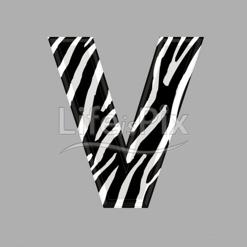 Zebra letter – capital V – 3d illustration – Royalty free stock photos, illustrations and 3d letters fonts