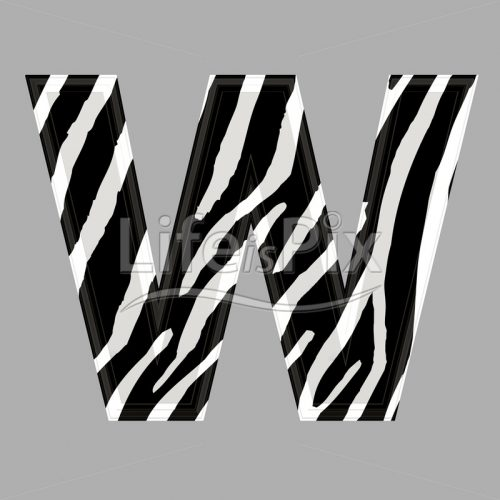 Zebra letter – capital W – 3d illustration – Royalty free stock photos, illustrations and 3d letters fonts