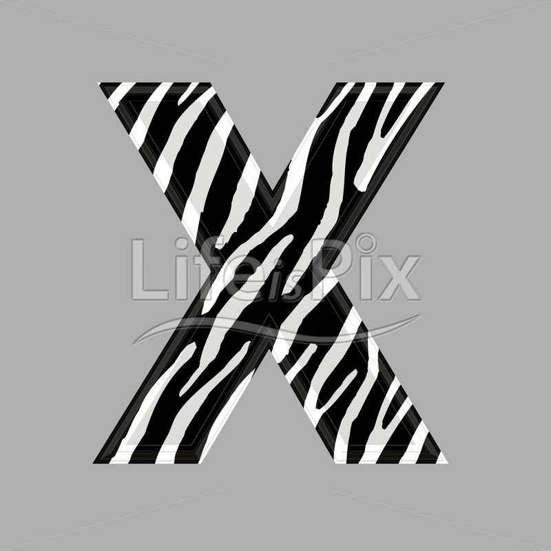 Zebra letter – capital X – 3d illustration – Royalty free stock photos, illustrations and 3d letters fonts