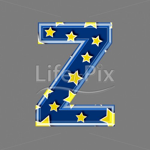 blue capital 3d letter Z with star pattern - Royalty free stock photos, illustrations and 3d letters fonts